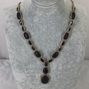 Fashion jewelry necklace black  & gold Tone